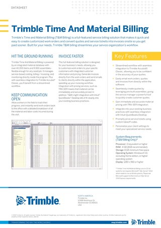 Trimble Time and Material Billing Datasheet