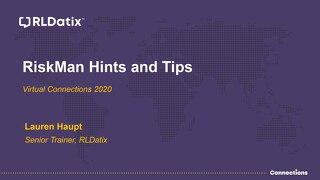 View Presentation: RiskMan Tips & Tricks Session