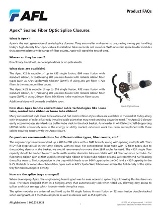 Apex™ Fiber Optic Splice Closures FAQs