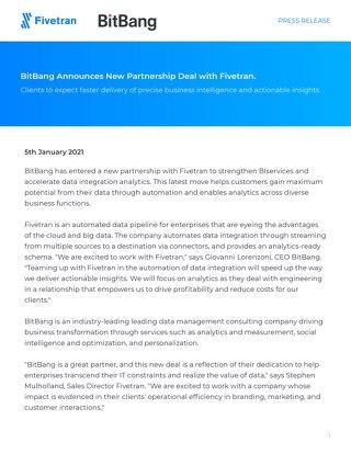 BitBang Fivetran Partnership