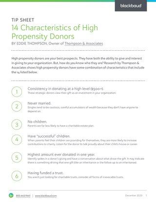 Tip Sheet: 14 Characteristics of High Propensity Donors