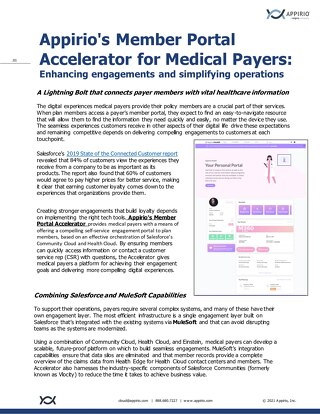 Member Portal for Medical Payers One Pager