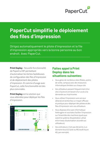 Print Deploy One Pager PaperCut MF en Français