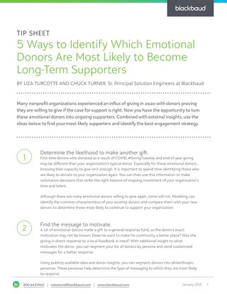 Tip Sheet: Converting Emotional Donors
