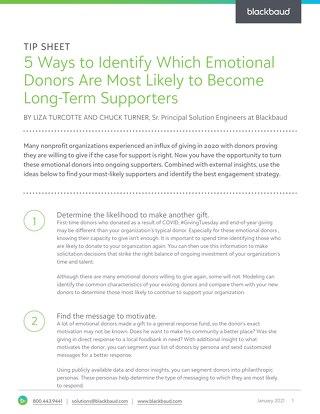 Tip Sheet: Converting Emotional Donors