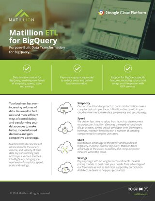 Matillion ETL for Google BigQuery: Purpose Built Data Transformation for Google BigQuery