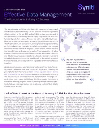 Effective Data Management: The Foundation for Industry 4.0 Success