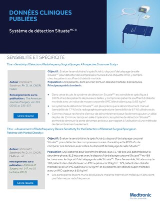 Données cliniques publiées : Système de détection Situate