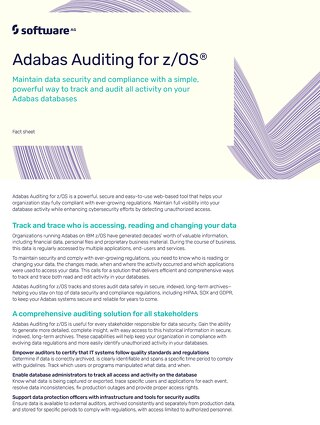 Facts about Adabas Auditing for z/OS®