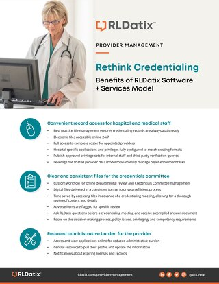 Rethink Credentialing: Benefits of RLDatix Software + Services Model