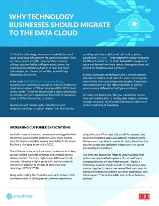 Why Technology Businesses Should Migrate To The Data Cloud