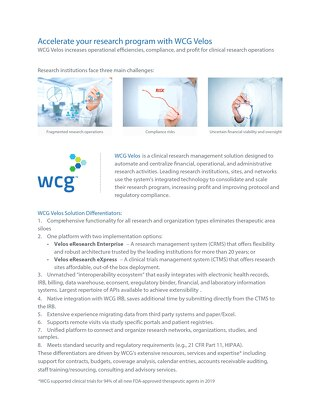 WCG Velos CTMS and CRMS for Sites