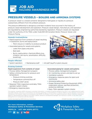 Job Aid - Pressure Vessels (Boilers and Ammonia Systems)