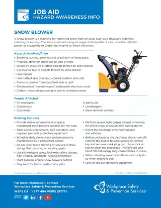 Job Aid - Snow Blower