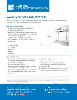 Job Aid - Walk-In Fridges and Freezers