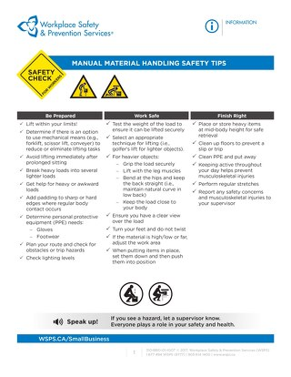Safety Check: Manual Material Handling Safety