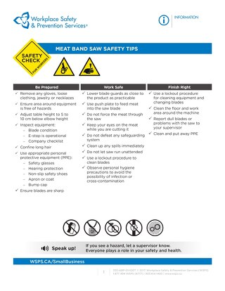 Safety Check: Meat Band Saw Safety