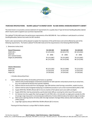 [Spec] LabGard NU-640 Animal Handling Biosafety Cabinet