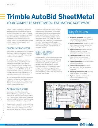 Trimble AutoBid SheetMetal Datasheet