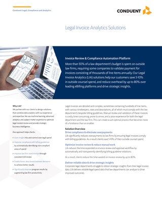 Conduent Legal and Compliance Solutions: Legal Invoice Analytics (LIA)