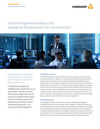 Conduent's Legal Invoice Analytics (LIA) Keeping Your Data Secure with LIA In the Azure Cloud
