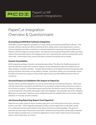 PaperCut MF Custom Integrations