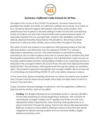 Safe Schools for All Plan Summary