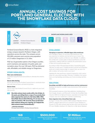 Annual Cost Savings for Portland General Electric With the Snowflake Data Cloud