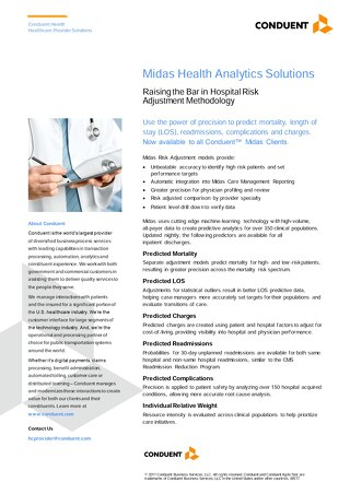 Midas Health Analytics Solutions: Raising the Bar in Hospital Risk Adjustment Methodology