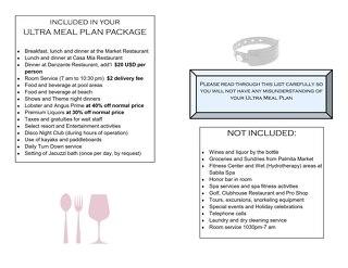 Villa del Palmar - All Inclusive Meal Plan Brochure