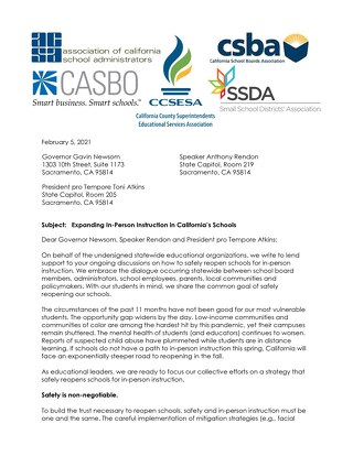 Letter Re: Expanding In-Person Instruction in California's Schools