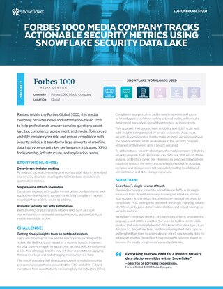 Forbes 1000 Media Company Tracks Actionable Security Metrics Using Snowflake Security Data Lake