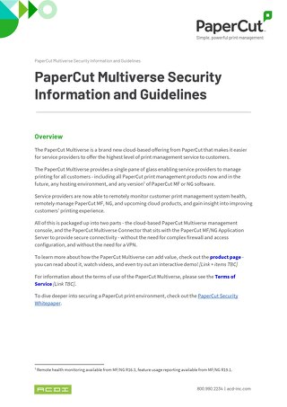 PaperCut Multiverse Security  Information and Guidelines