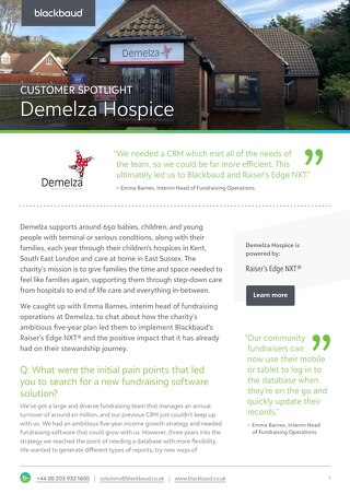 Demelza Hospice | Raiser's Edge NXT