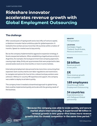 Rideshare innovator accelerates revenue growth with Global Employment Outsourcing