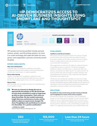 HP Democratizes Access to AI-Driven Business Insights Using Snowflake and Thoughtspot