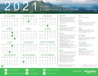 2021 Global Sustainability Reporting & Compliance Calendar