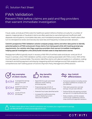 Fraud, Waste, and Abuse (FWA) Validation solution