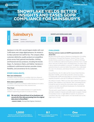 Snowflake Yields Better Insights and Eases GDPR Compliance for Sainsbury's