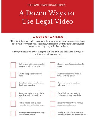 12 Ways to Use Legal Video Checklist