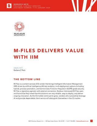 Nucleus Research: M-Files Delivers Value with IIM