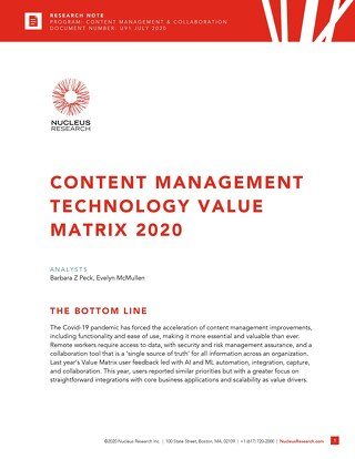 Nucleus Research Technology Value Matrix for Content Management 2020