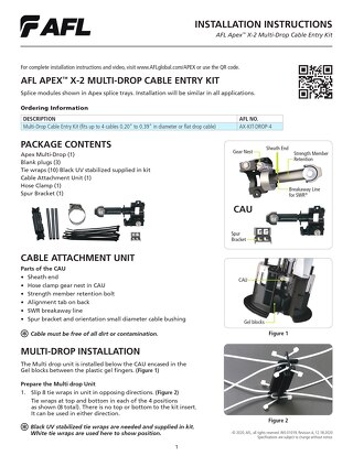 Apex™ X-2 Multi-Drop Cable Entry Kit Instructions
