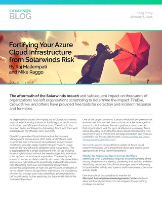 Blog: Fortifying Your Azure Cloud Infrastructure from Solarwinds Risks