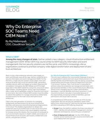Blog: Why do enterprise SOC teams need CIEM now?