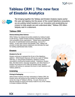 Tableau CRM - The new face of Einstein Analytics