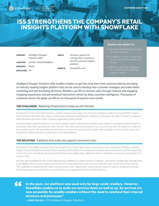 ISS Strengthens the Company's Retail Insights Platform with Snowflake