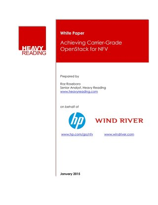 Achieving Carrier-Grade Openstack for NFV