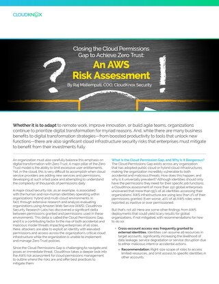 Blog: Closing the Cloud Permissions Gap to Achieve Zero Trust: An AWS Risk Assessment