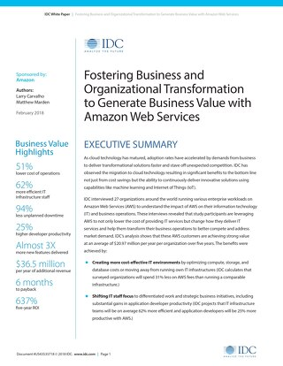 Whitepaper: Fostering Business and Organizational Transformation to Generate Business Value with Amazon Web Services